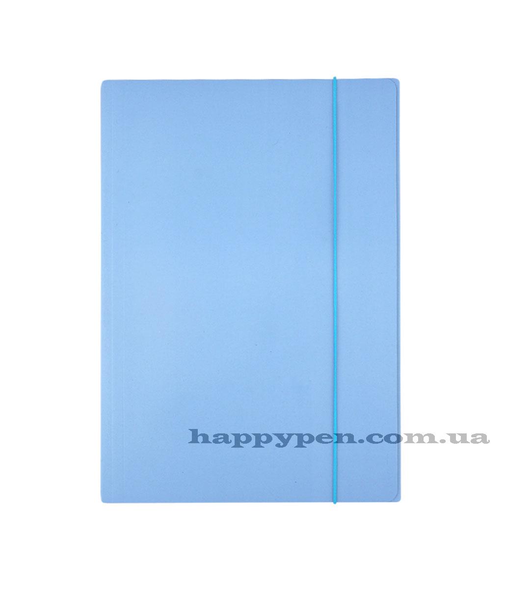 Папка на резинках А4, картон, небесно голуб.