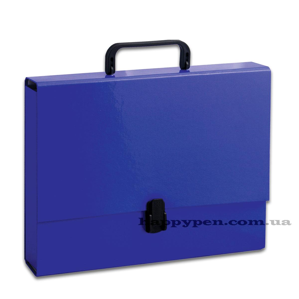 Портфель с ручкой, картонный А4 (32*23,5*5см), на 1 отделение, син.