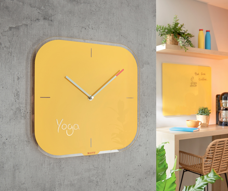 Часы настенные Cosy, квадратные, стекло, желт. LEITZ - фото 3
