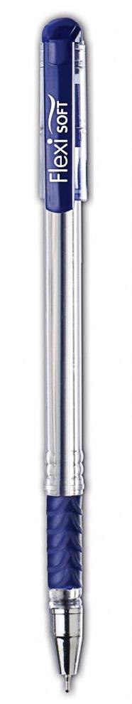 Ручка шариковая Fexi Soft, 0,7мм., масляная, корпус прозрачный с грипом., стержень син.
