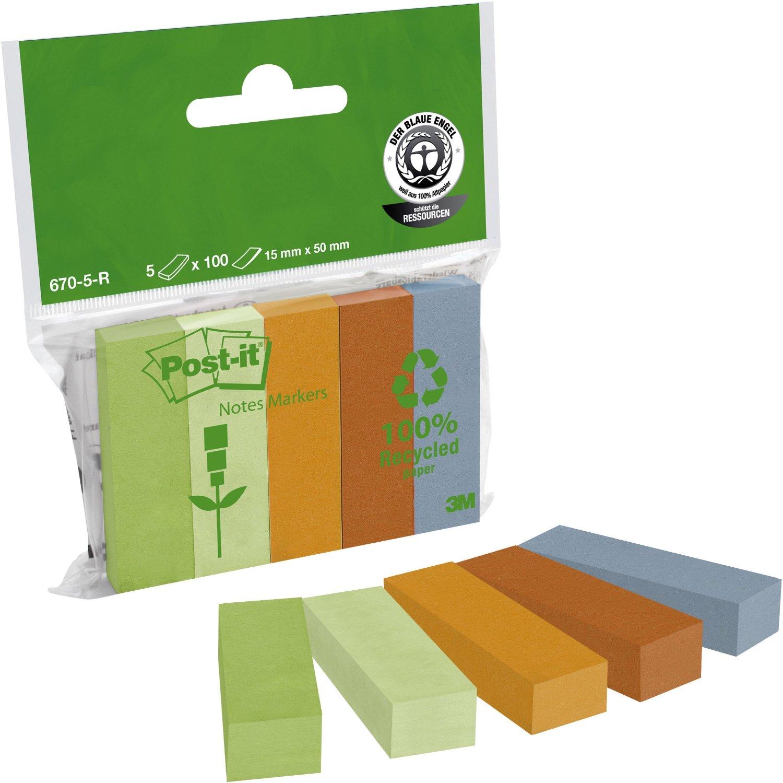 Закладки бумажные 15х50мм. Эко, 5 цветов по 100 листов 3M - фото 1