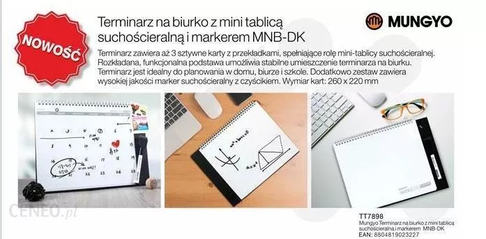 Брульон на три страницы для сухостираемых маркеров MNB-DK, 26*22см., маркер в комплекте Mungyo - фото 2