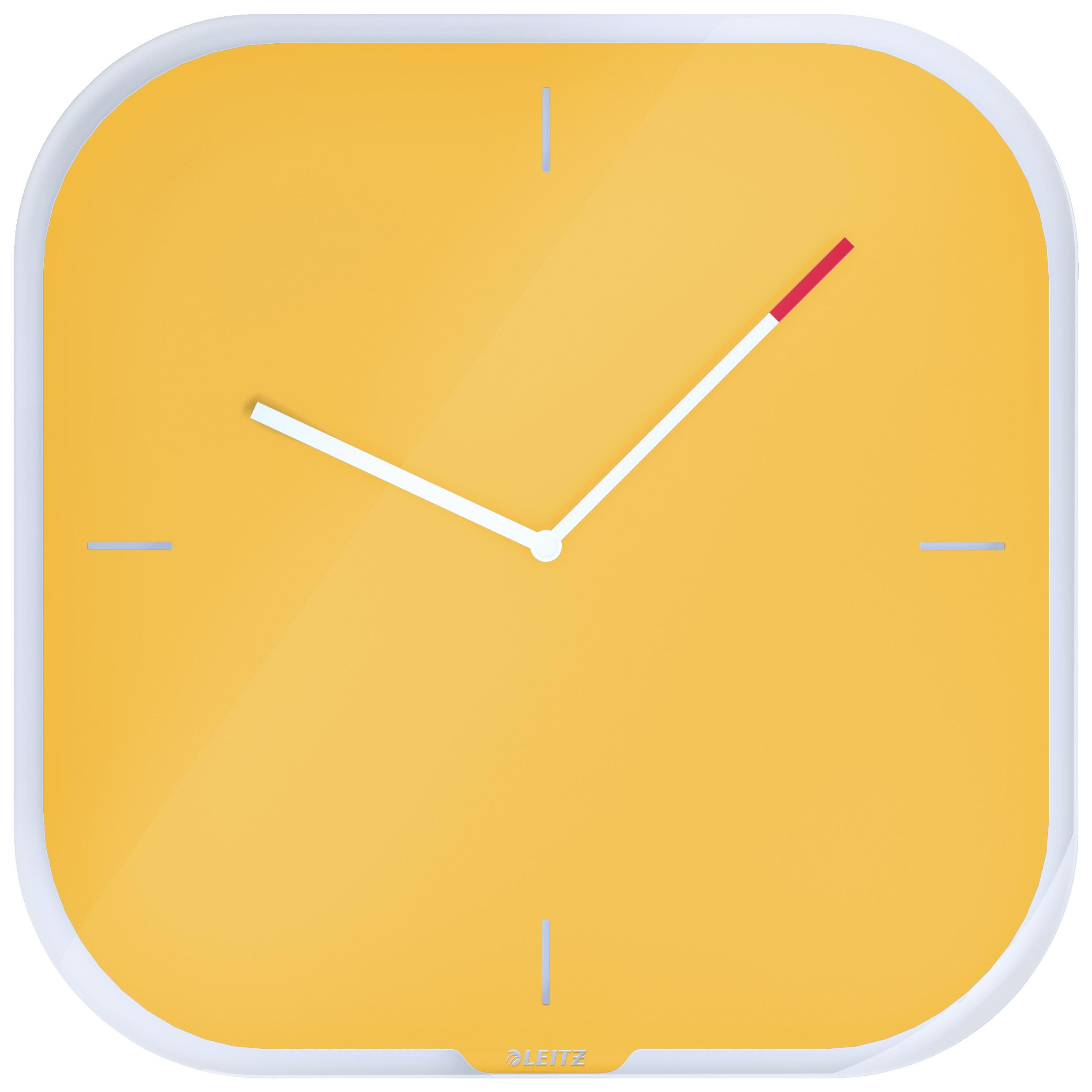 Часы настенные Cosy, квадратные, стекло, желт.