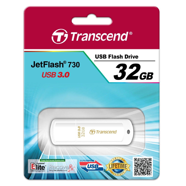 Флеш-память USB 3.0 Flash Drive 32Gb JetFlash 730 моноблок, пластик, корпус бел. TRANSCEND - фото 3