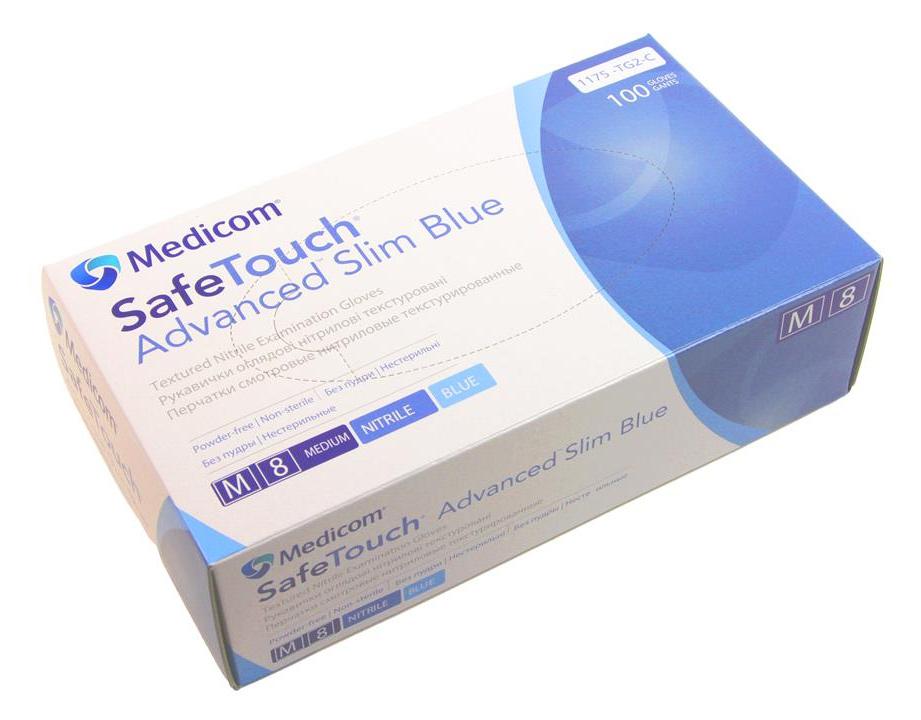Перчатки нитриловые неопудренные, размер M, 100шт./уп., голуб. Medicom - фото 3