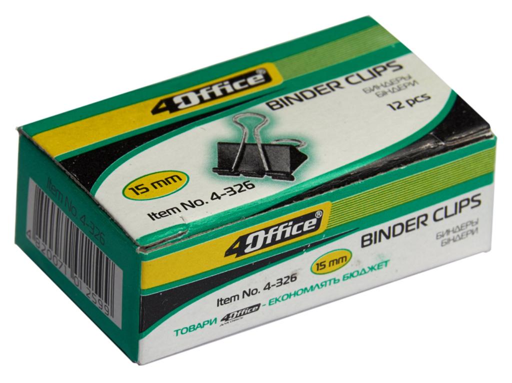 Зажим-биндер 15мм., 12шт./уп. черн. 4Office - фото 2