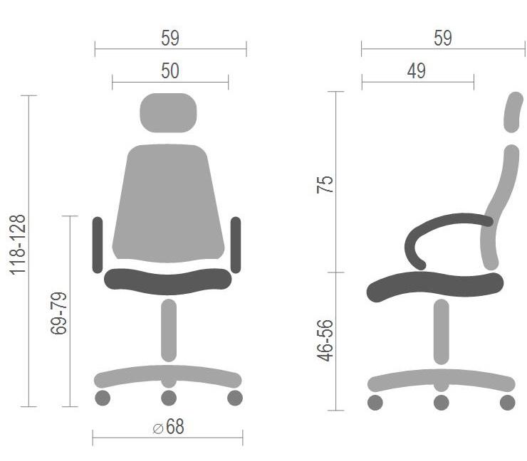 Кресло для персонала Катран CH RL(L), черн. АКЛАС - фото 4