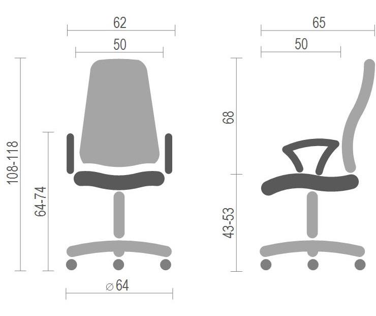 Кресло для персонала Гилмор FX СН TILT, серый АКЛАС - фото 4