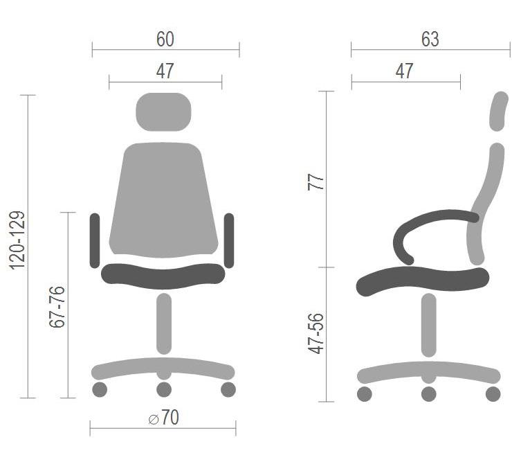 Кресло для персонала Прима PL HR ANF, серый АКЛАС - фото 10