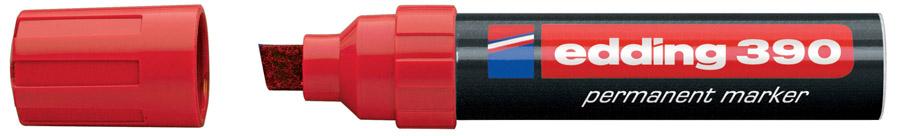 Маркер перманентный клиновидное острие Гигант 390 4-12мм., красн. Edding - фото 5