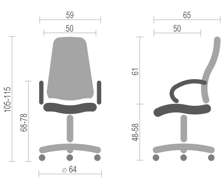 Кресло для персонала Кап FX СН TILT, беж. АКЛАС - фото 4