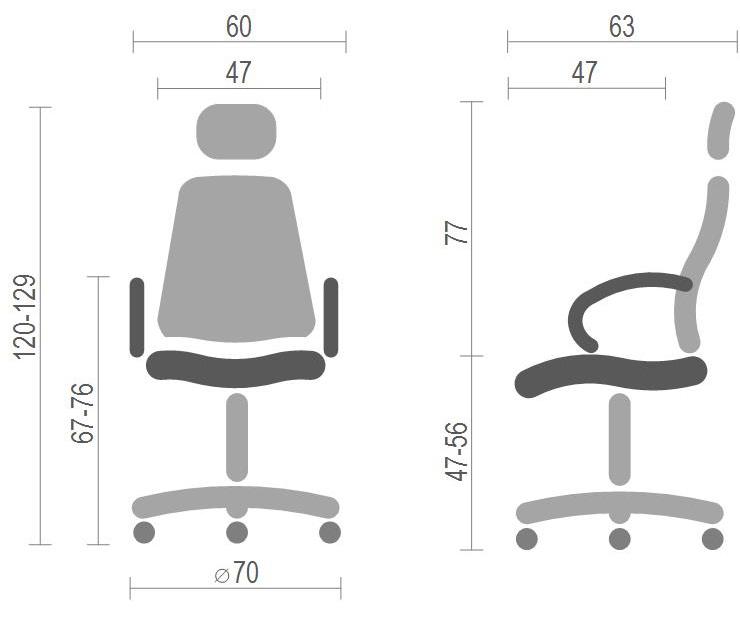 Кресло для персонала Прима PL HR ANF, син. АКЛАС - фото 7
