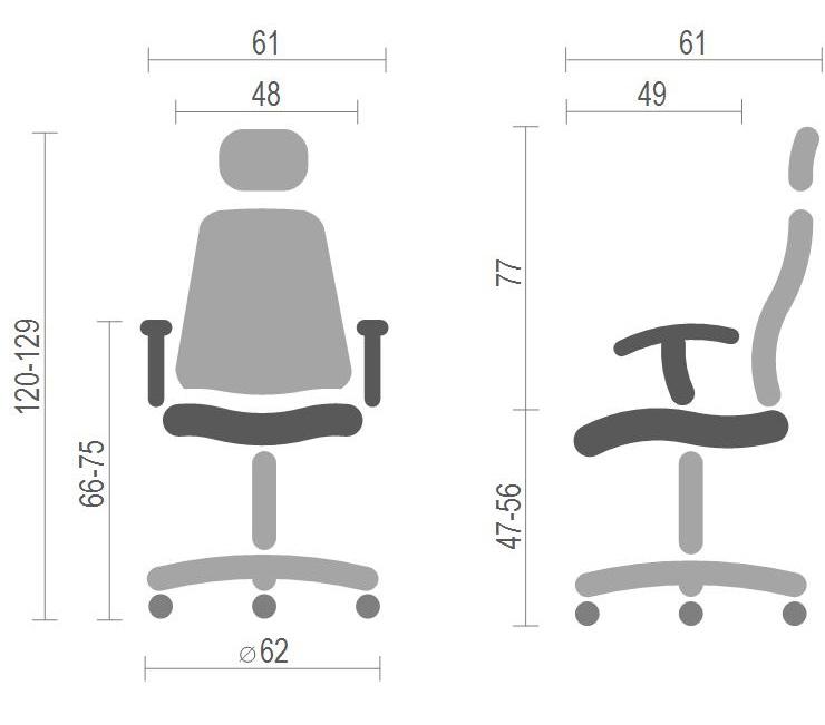 Кресло для персонала Сиона CH SR(L), серый АКЛАС - фото 4