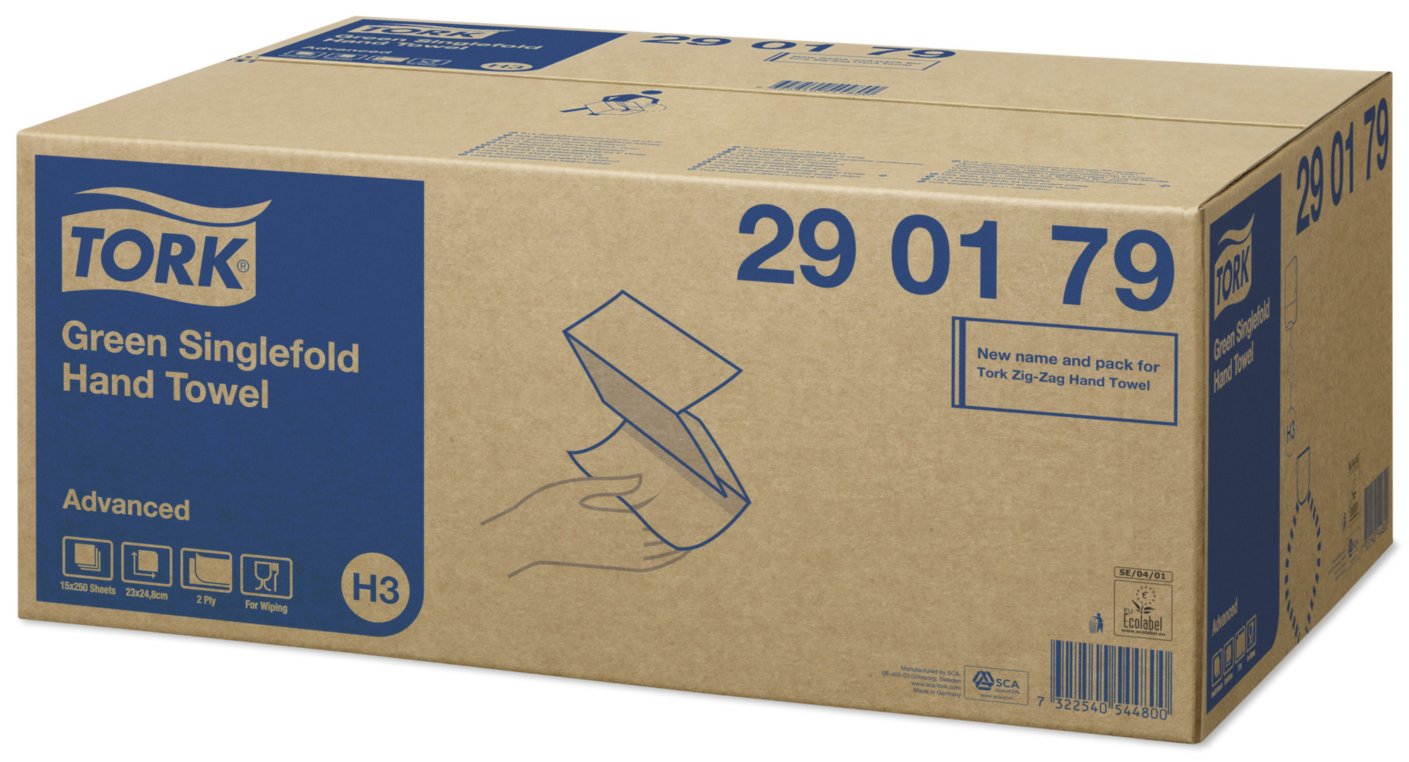 Полотенца листовые ZZ(C)-складка 2-сл., 250 лист.(24,8*11,5см.) Advanced, (H3), салат. Tork - фото 2
