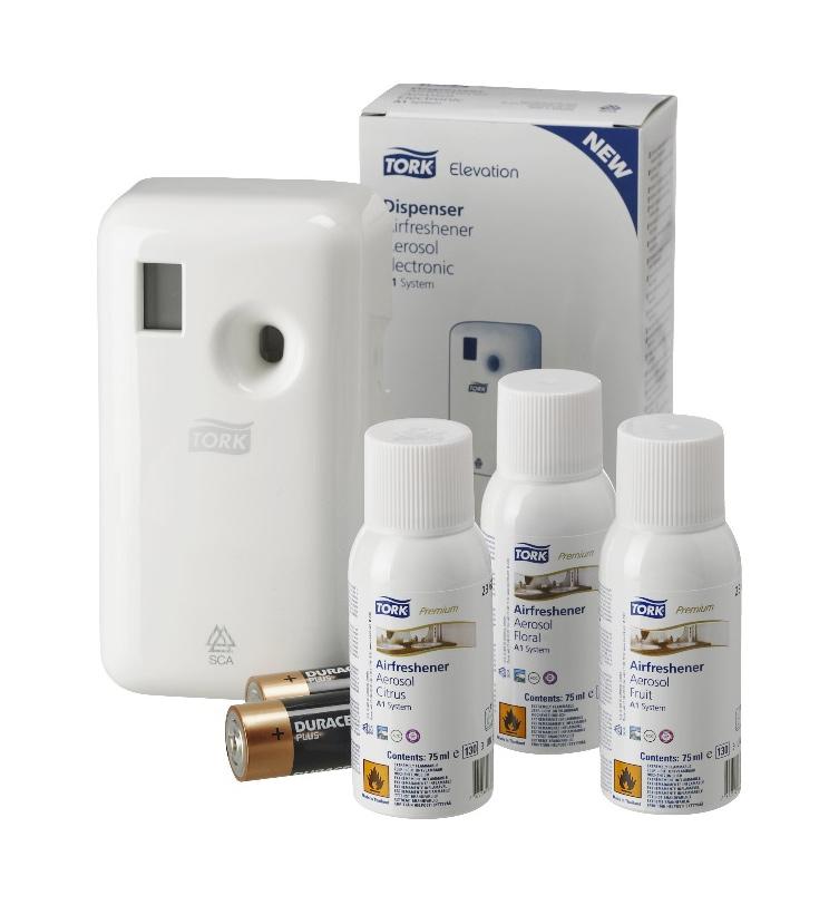 Диспенсер для аэрозольного освежителя воздуха Aluminium, Электронный, пластик, (A1), бел. Tork - фото 4