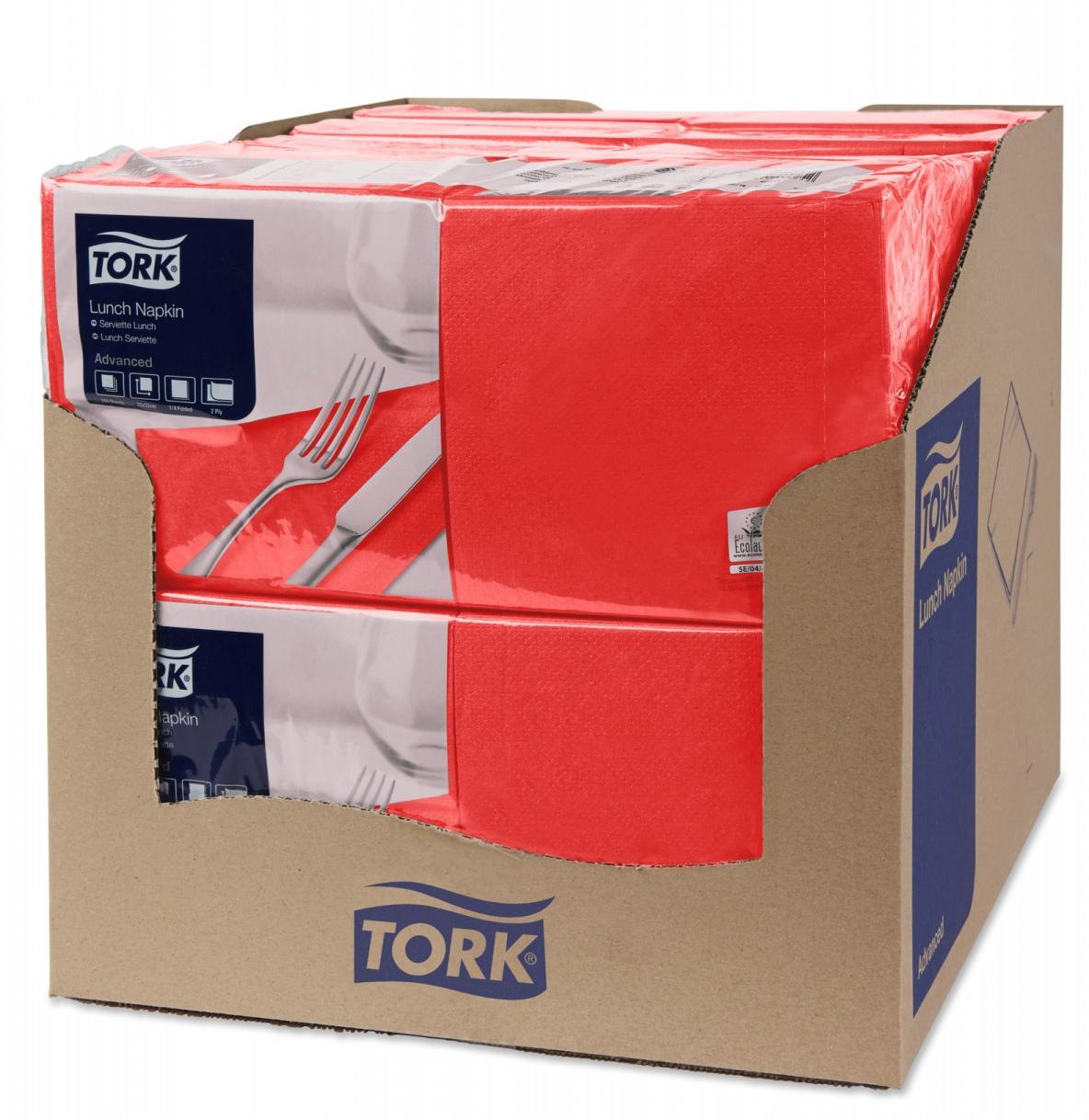 Салфетки 33*33см. Tork Advanced 2-х слойная, 200шт./уп., красн. Tork - фото 2