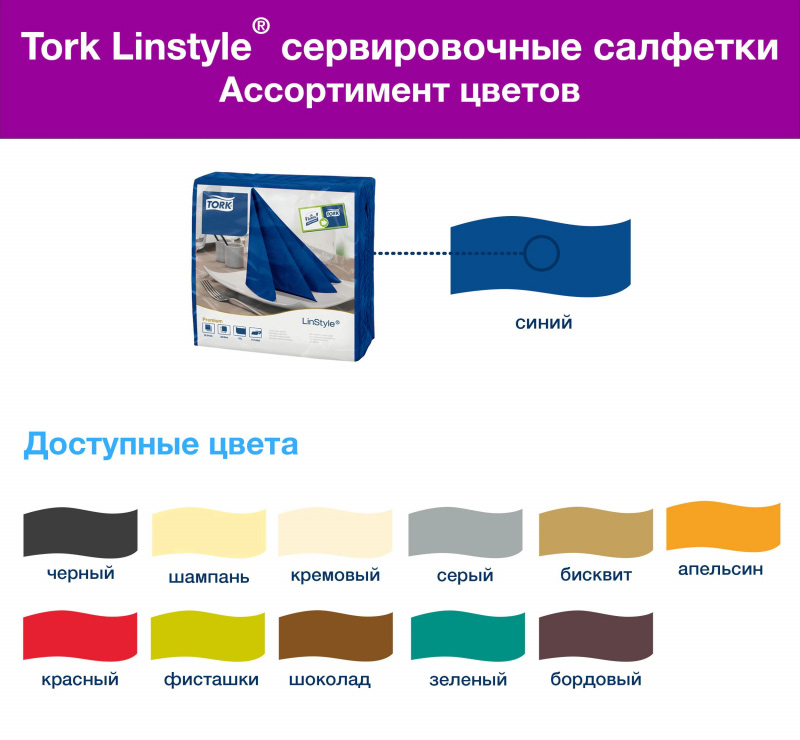 Салфетки 39*39см. Tork Premium LinStyle® 1 слойная, 50шт./уп., син. Tork - фото 8