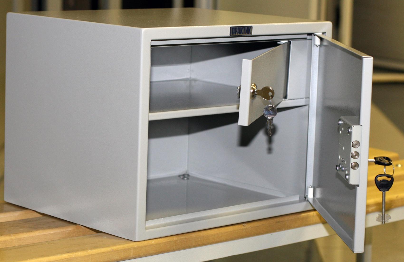 Шкаф бухгалтерский 1 полка+отделение с замком, (320*420*350мм.) метал., замок, серый Практик - фото 2