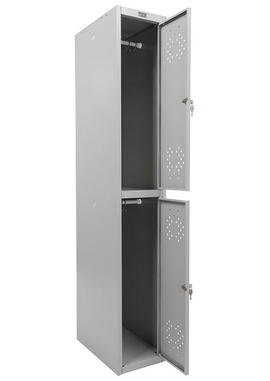 Шкаф для раздевалок, две секции (1830*302*500мм) метал., замок, серый Практик - фото 2