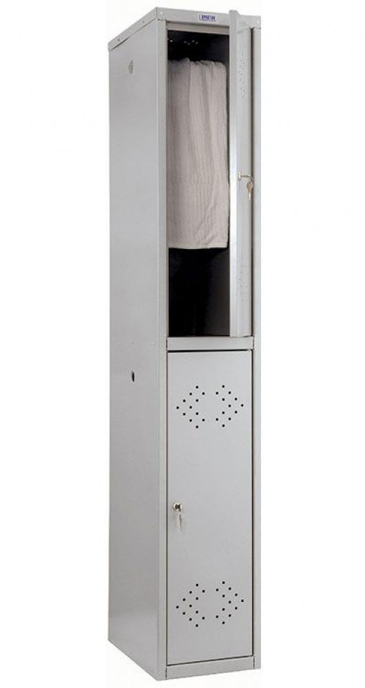 Шкаф для раздевалок, две секции (1830*302*500мм) метал., замок, серый Практик - фото 3