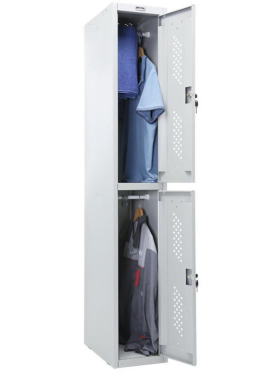 Шкаф для раздевалок, две секции (1830*302*500мм) метал., замок, серый Практик - фото 4