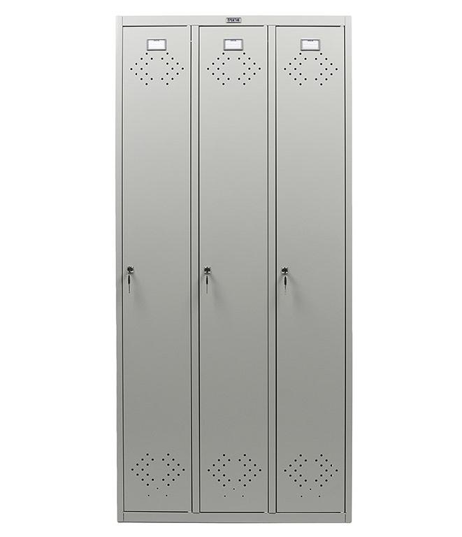 Шкаф для раздевалок, 3 двери, 3 секции (1830*850*500мм) метал., замок, серый Практик - фото 3