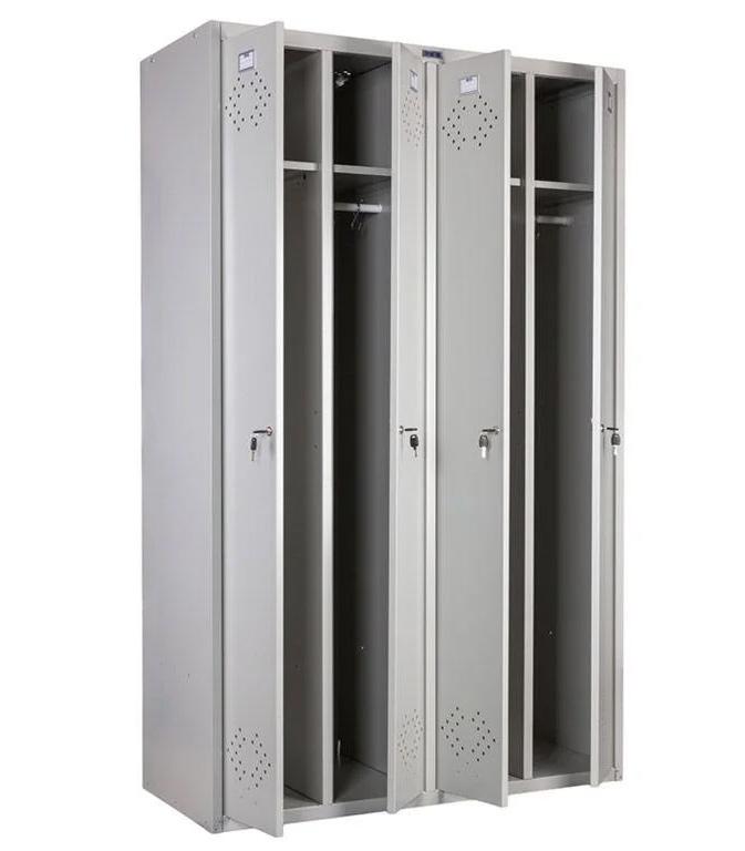 Шкаф для раздевалок, 4 двери, 4 секции (1830*1130*500мм) метал., замок, серый Практик - фото 2