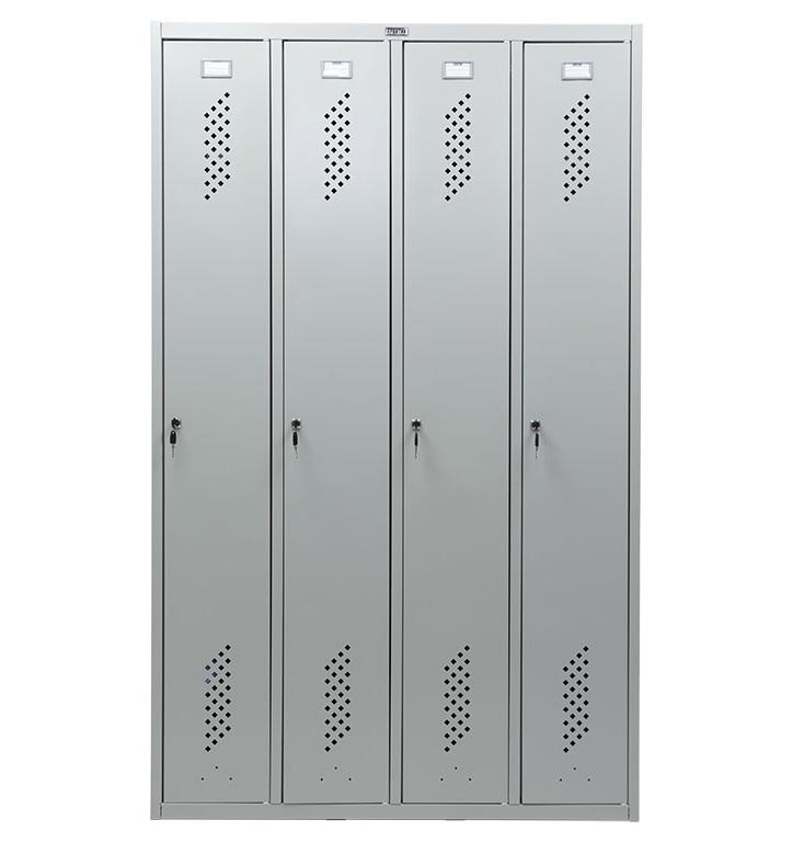 Шкаф для раздевалок, 4 двери, 4 секции (1830*1130*500мм) метал., замок, серый Практик - фото 3