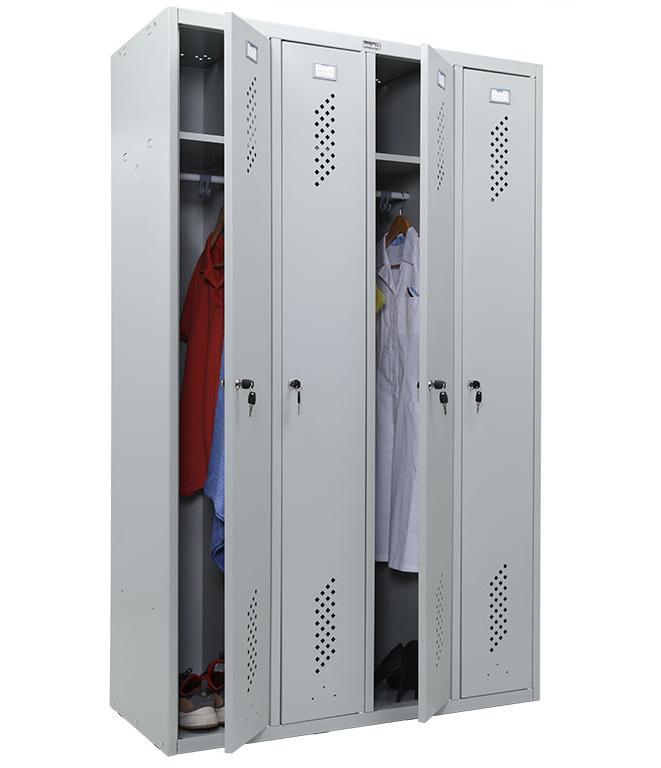 Шкаф для раздевалок, 4 двери, 4 секции (1830*1130*500мм) метал., замок, серый Практик - фото 4