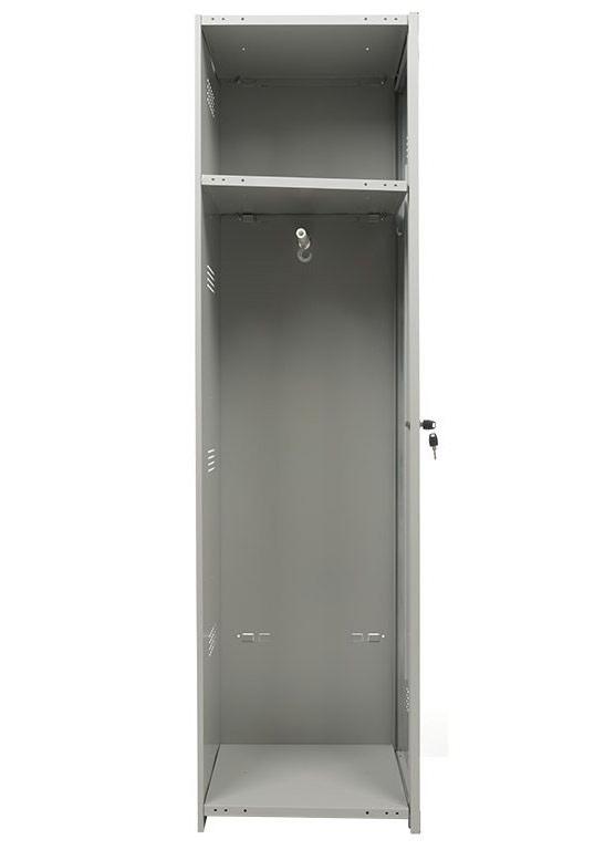 Шкаф для раздевалок, 1 дверь, Усиленный (1830*400*500мм) метал., замок Доп. модуль, серый Практик - фото 1