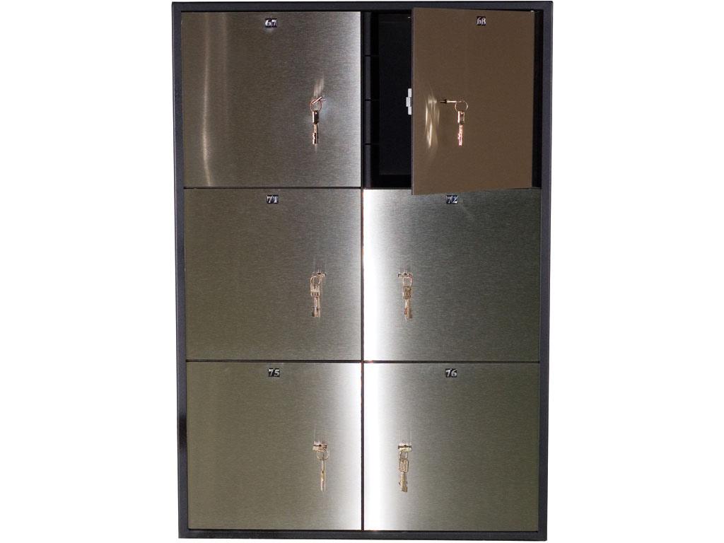 Блок депозитных ячеек (920*635*430) ключевой замок, 6 ячеек, 2 скв/ячейк., нерж/сталь, сталь. Valberg - фото 2