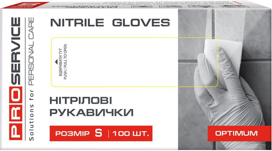 Перчатки нитриловые неопудренные Optimum, размер S, 100шт./уп., син. PROservice - фото 1