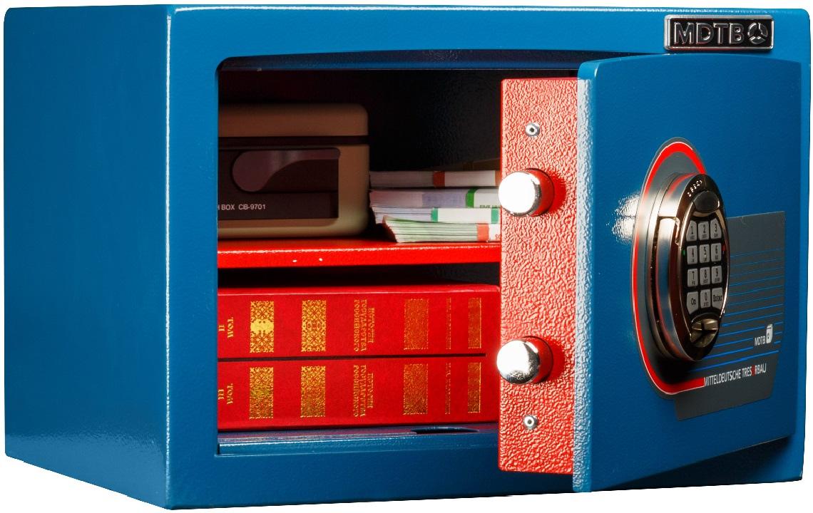 Сейф взломостойкий (220*350*310мм.) электронно кодовый замок, 1 полка, 1 класс, MDTB EK-22.E, син MDTB - фото 2