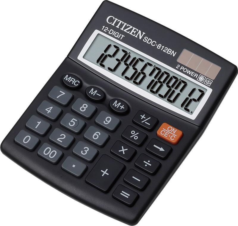 Калькулятор бухгалтерский SDC-812BN 12 разрядов, 125х100х34мм. Citizen - фото 1