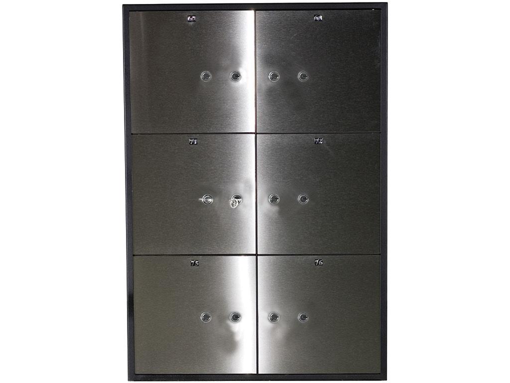 Блок депозитных ячеек (920*635*430) ключевой замок, 6 ячеек, 2 скв/ячейк., нерж/сталь, сталь.