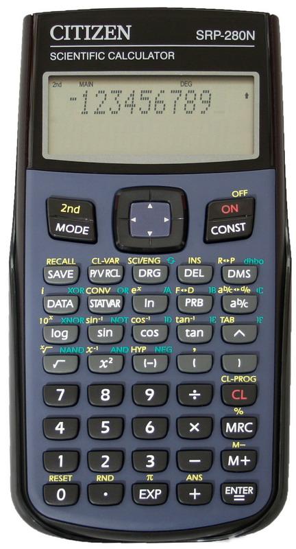 Калькулятор инженерный программируемый SR-280, 10+2 разрядов, 396 функц, 2 лин.диспл., 155,5х75х12мм Citizen - фото 1