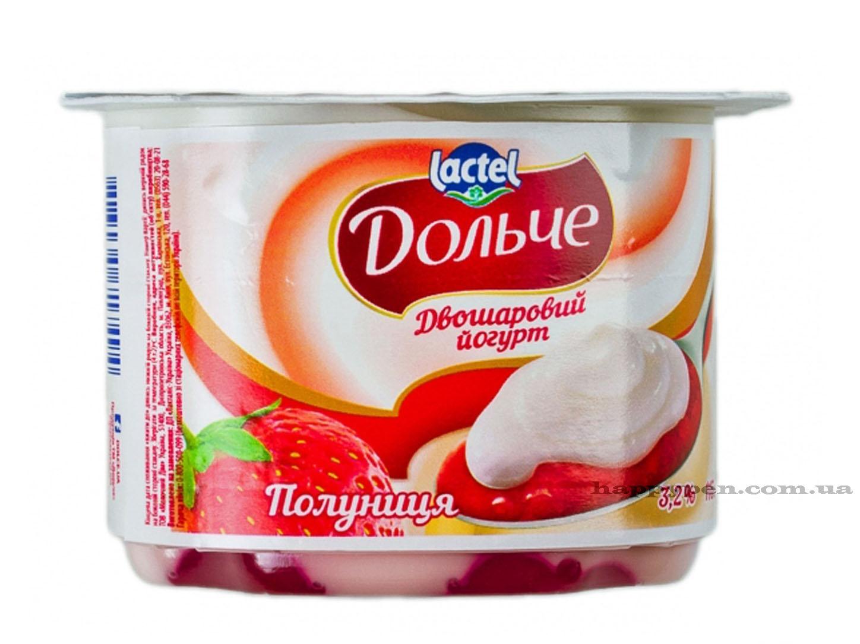 Йогурт 3,2%, Клубника, 4шт./уп. Дольче - фото 1
