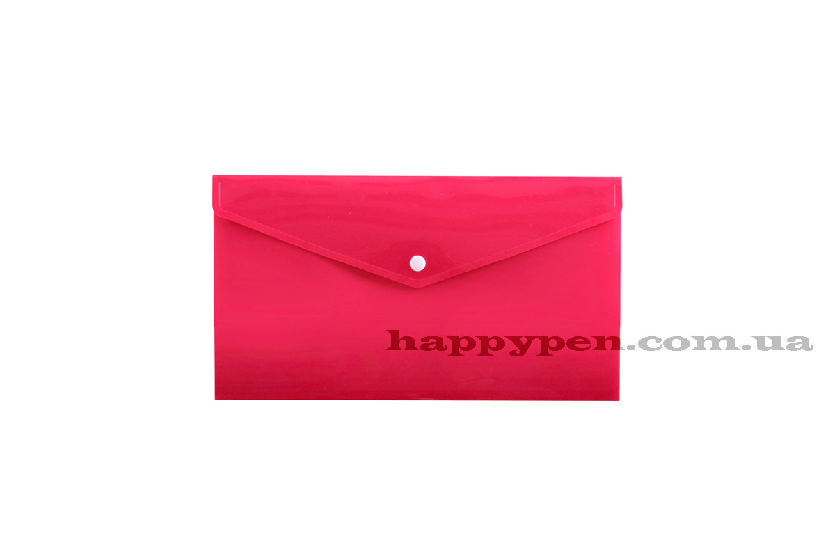 Папка-конверт на кнопке E65/DL (253*129мм), PP-115, толщина 180мкм., розов.