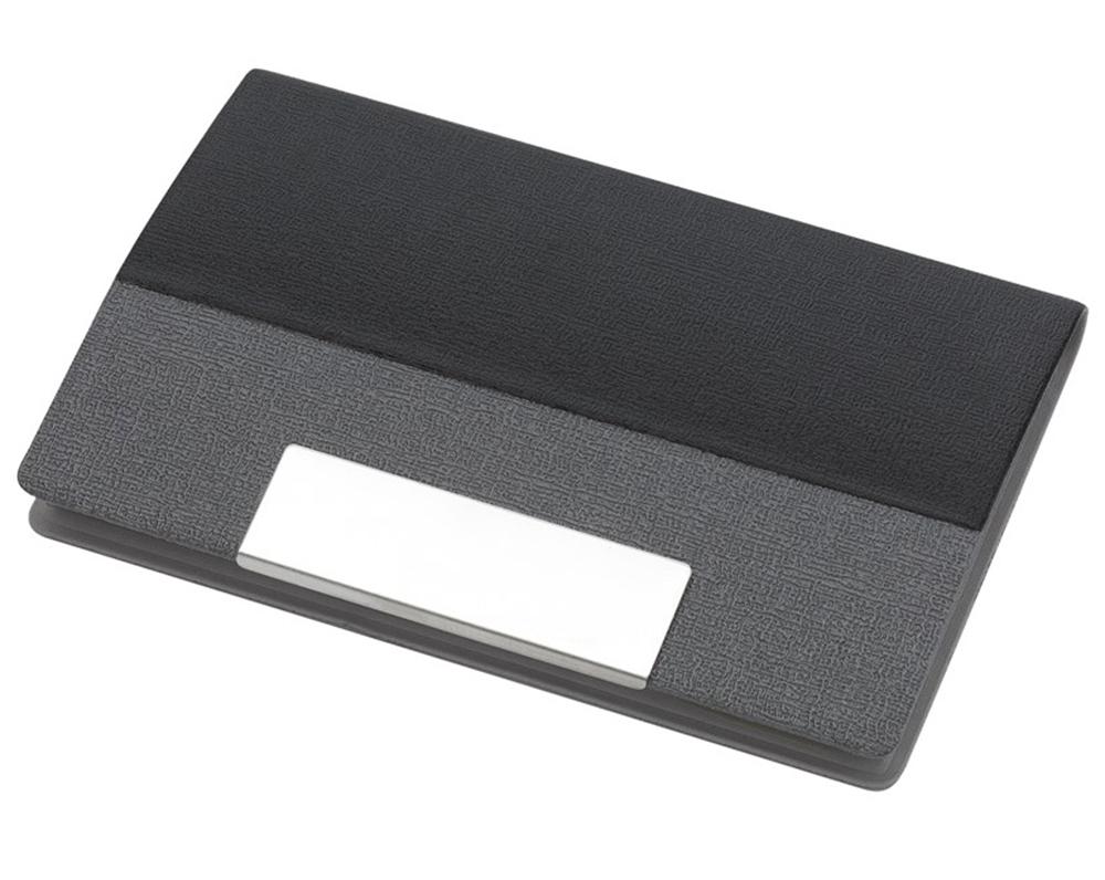 Визитница карманная сталь/кожа, черн.
