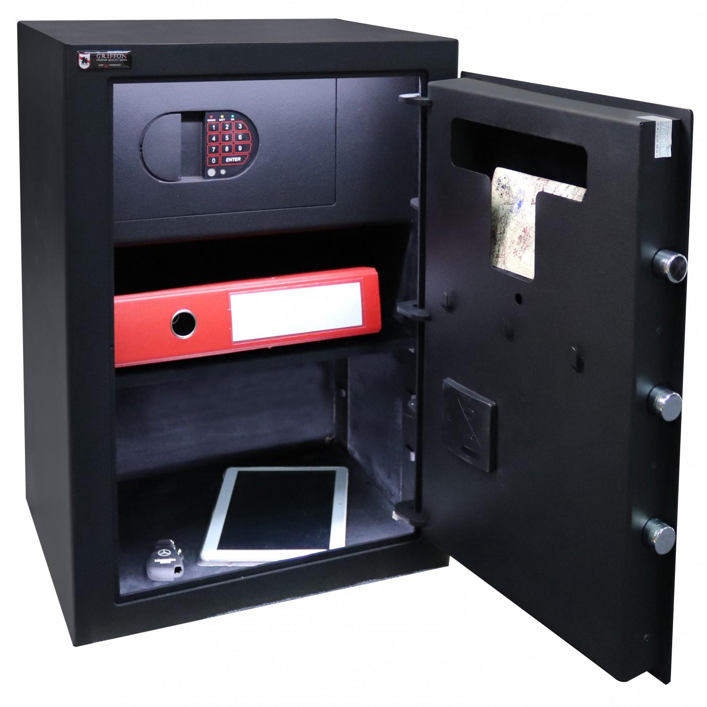 Сейф офисний (600*425*370мм.) биомет.замок у трейзері застосований елек.код.замок M.60.FP BLACK Griffon - фото 9