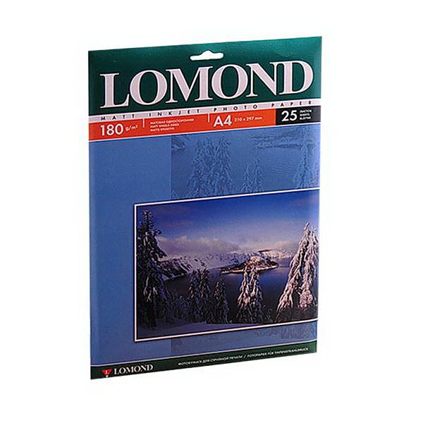 Фотобумага матовая А4, 180гр./м2., 25листов Lomond - фото 1