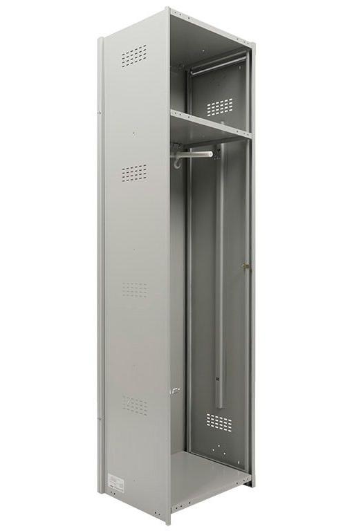 Шкаф для раздевалок, 1 дверь, Усиленный (1830*400*500мм) метал., замок Доп. модуль, серый